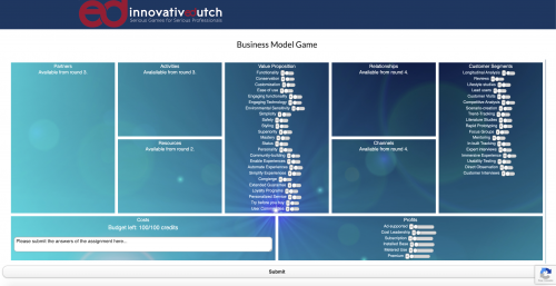 Business Model - decisions page in round 1