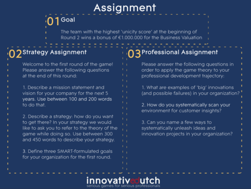 Snapshot of assignment as part of the game