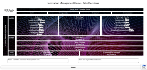 Example of decision-making page